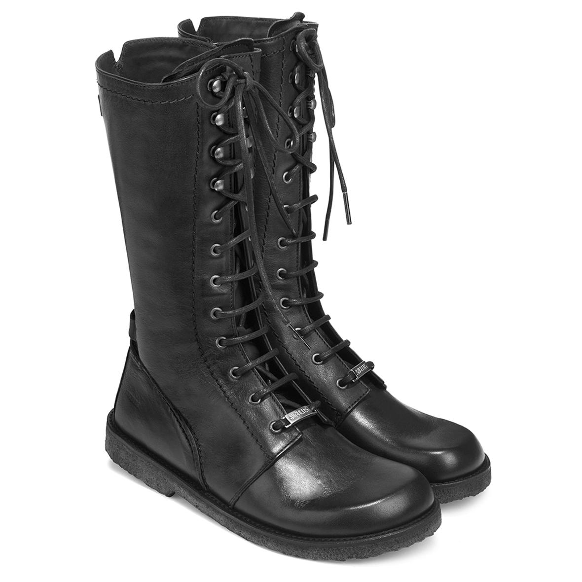 Angulus dame langskaftet støvle m. lynlås, sort